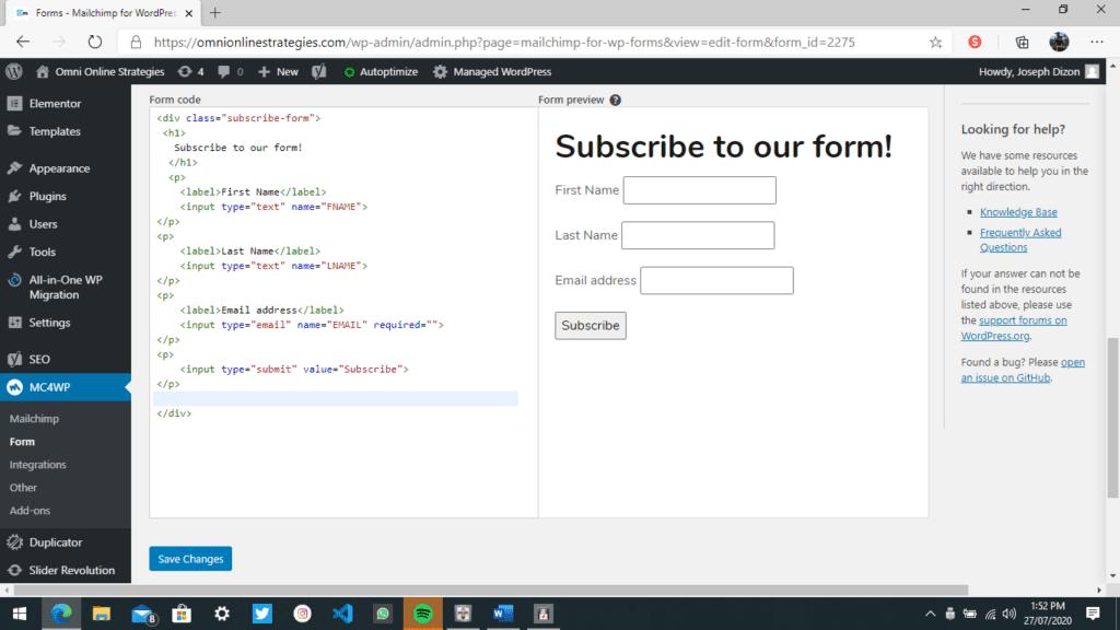 Sample Test Email Form