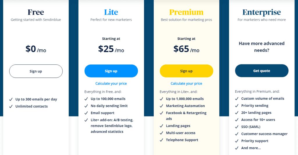 Sendinblue pricings plans